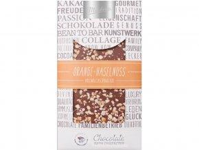 Zdobená mléčná čokoláda pomeranč lískový ořech 100g