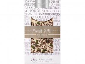 Zdobená bílá čokoláda pistácie káva 100g