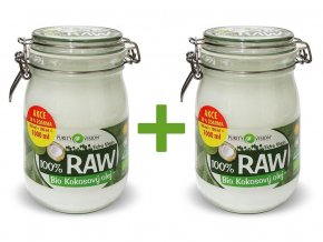 Bio 100% RAW kokosový olej ve skle 900ml+100ml AKCE 1+1
