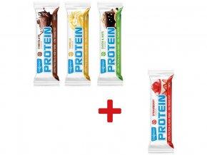 AKCE Tyčinka proteinová 60g (čokoláda, vanilka, oříšek) 3+1 jahoda ZDARMA
