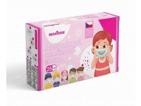 Dětská obličejová maska pro holky - růžová 25 ks