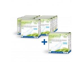 Ultratenké vložky Masmi z organické bavlny ultra night s křidélky, 10 ks AKCE 7+1