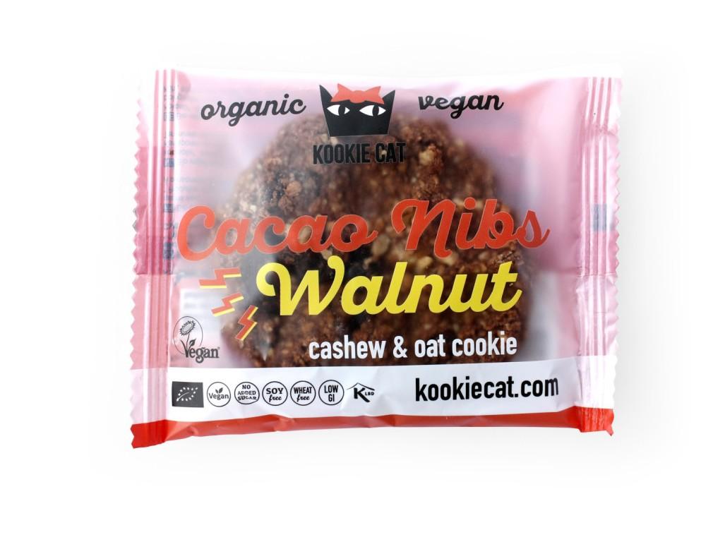 KOOCKIECAT Bio koláček ovesný bezlepkový kakaové boby a vlašský ořech 50g
