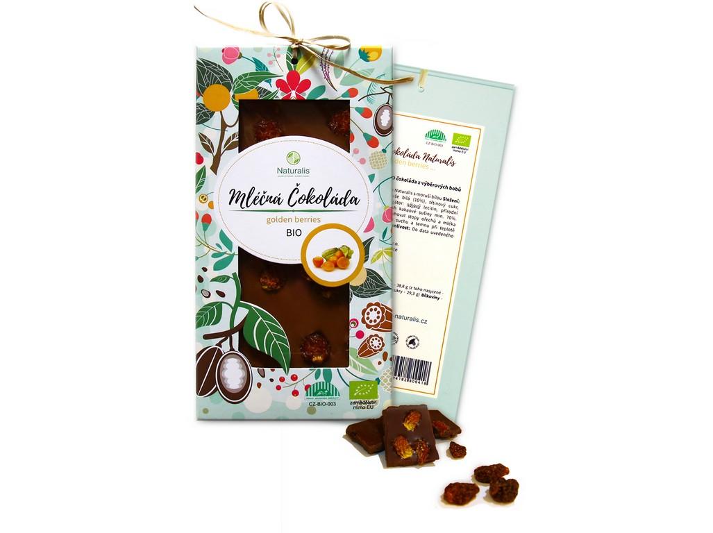 Naturalis Bio čokoláda s golden berries - mléčná 80g