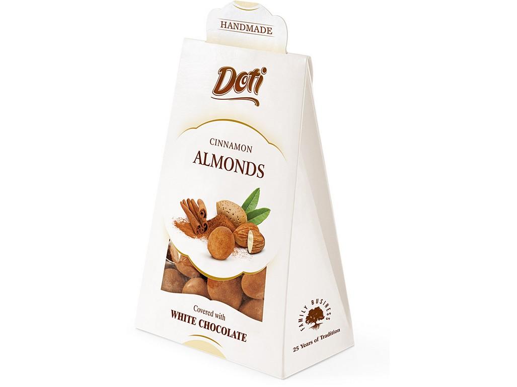 DOTI NATURAL Mandle v bílé čokoládě se skořicí - dárková taštička 100g