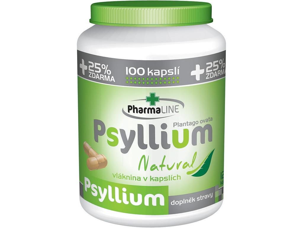 PharmaLINE Psyllium Natural cps.100+25% ZDARMA