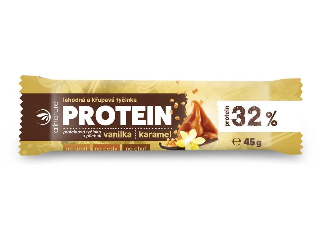 Allnature Proteinová křupavá tyčinka 32% vanilka a karamel 45g