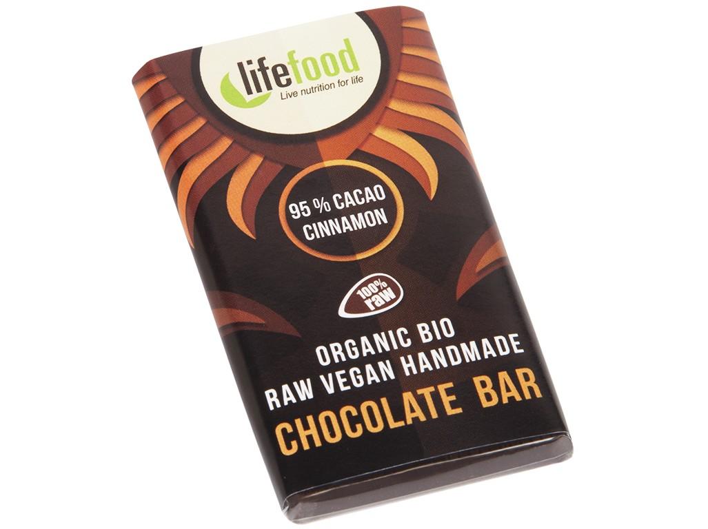 Lifefood mini čokoládka 95% kakao a skořice bio 15g