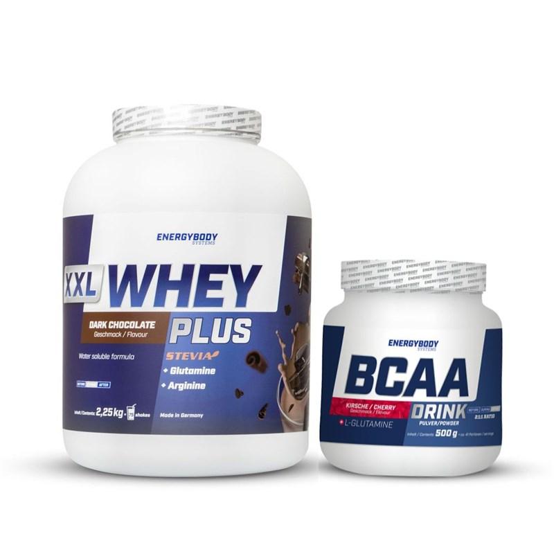 EnergyBody XXL Whey Plus Protein 2,25kg + BCAA Drink 500g Jméno: XXL Whey Plus Protein 2,25kg čokoláda + BCAA Drink + Kofein 500g káva