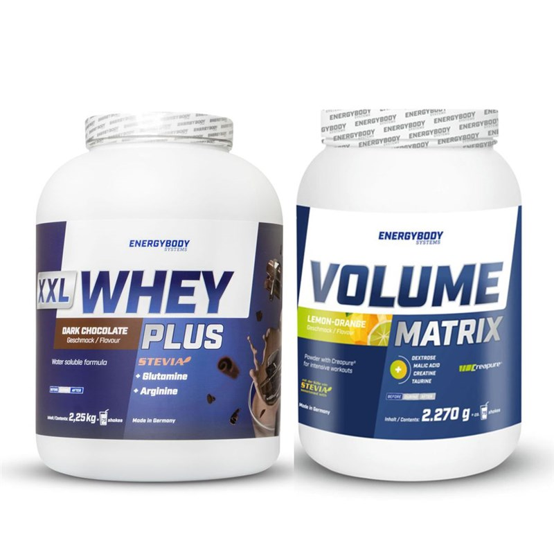 EnergyBody XXL Whey Plus Protein 2,25kg + Volume Matrix 2,27kg pomeranč-citron