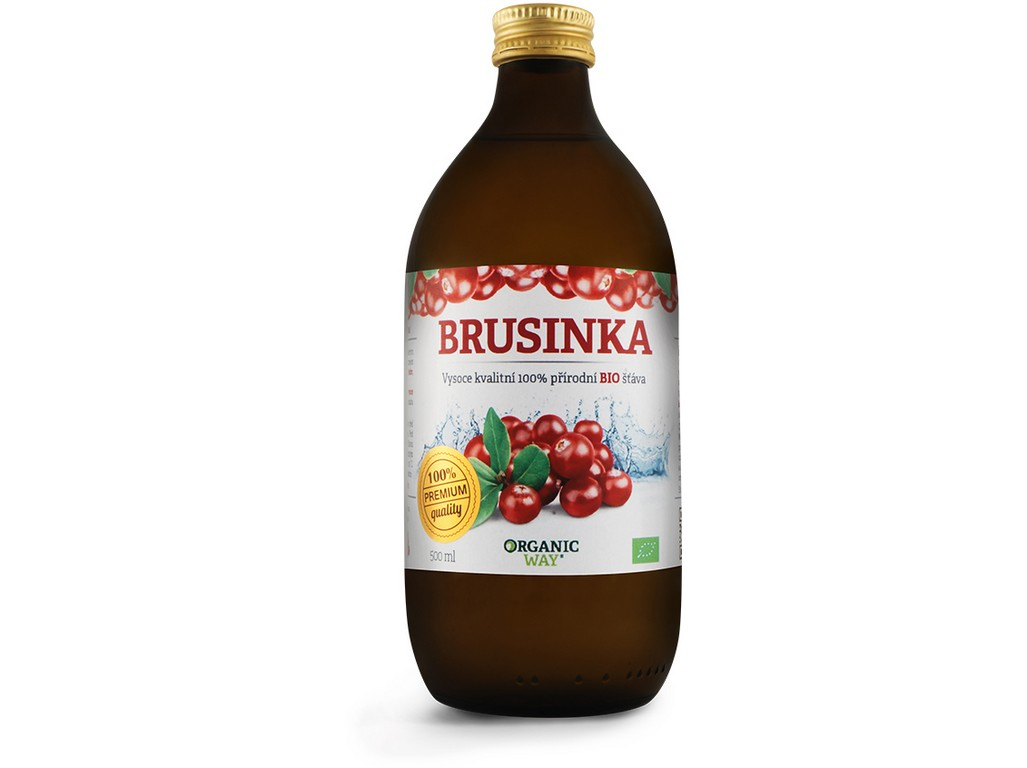 Organic way Bio Brusinka 100% šťáva premium quality 500ml