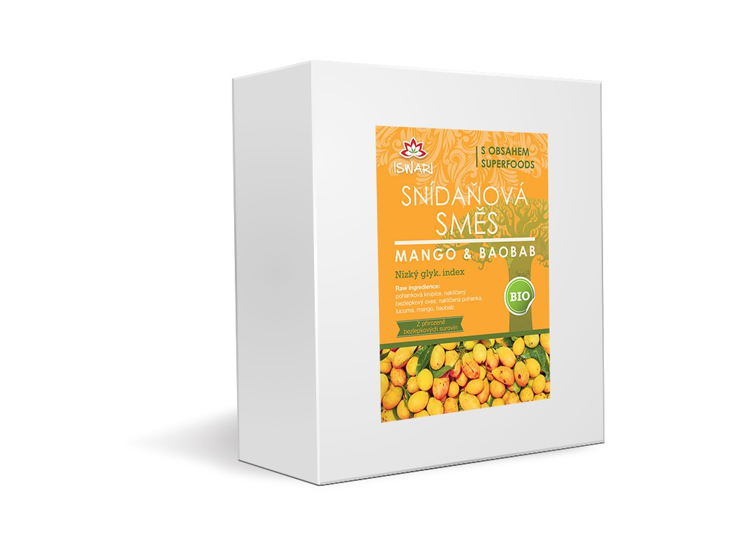 Iswari Bio snídaňová směs mango-baobab family 3,2kg