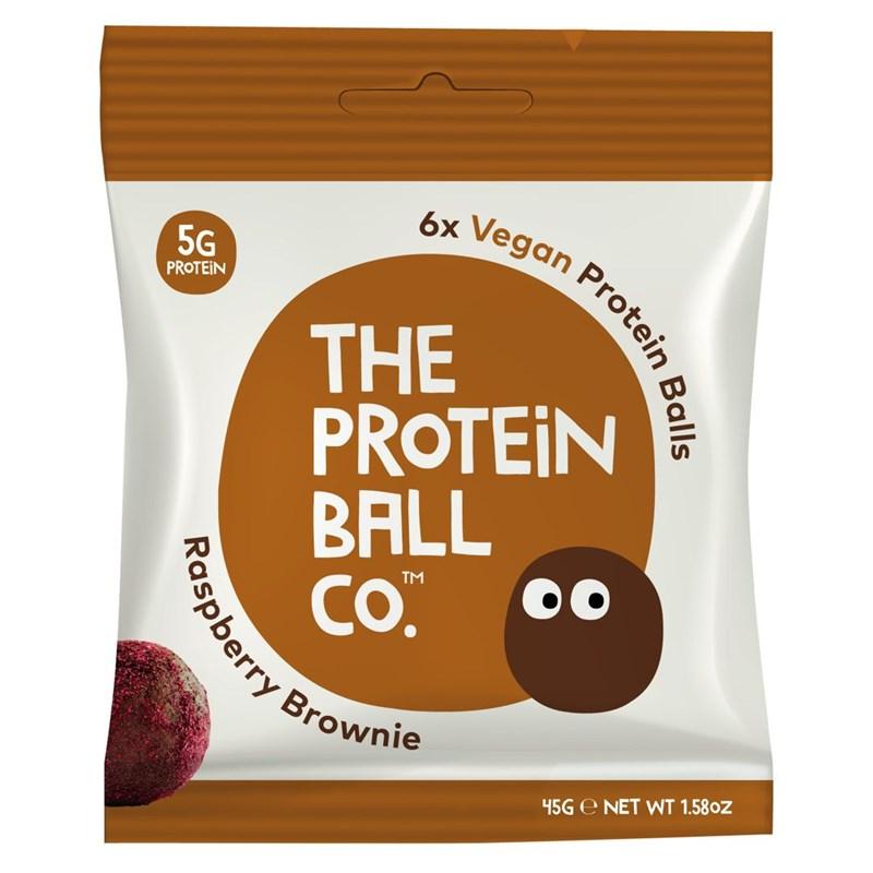 The Protein Ball co Vegan Protein Balls 45g (Veganské proteinové kuličky) raspberry brownie