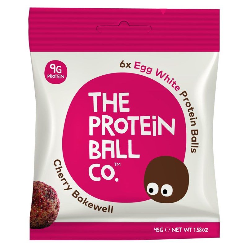 The Protein Ball co Egg White Protein Balls 45g (Kuličky s vaječným proteinem) cherry bakewell