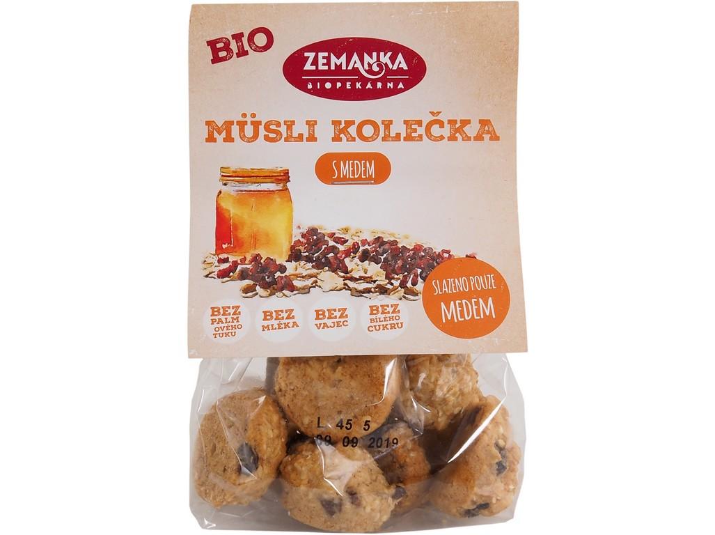 Biopekárna Zemanka Müsli kolečka bio s medem 100 g