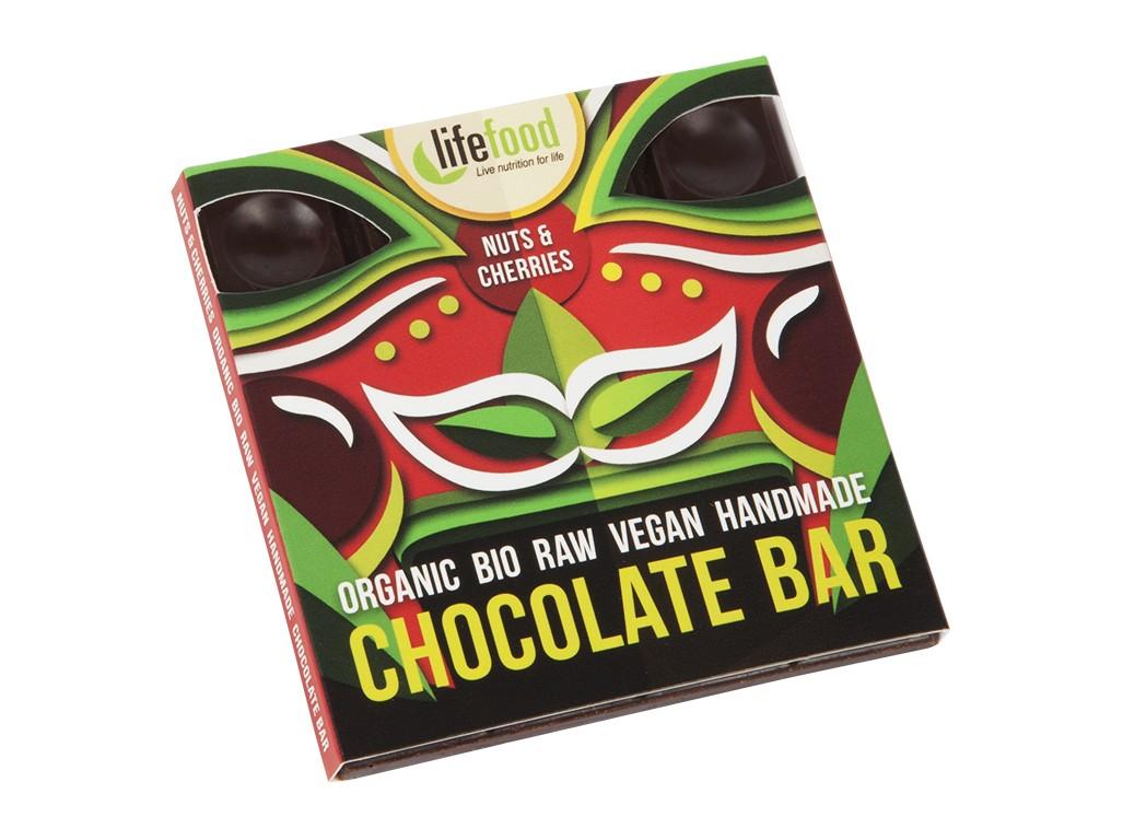 Lifefood Bio čokoláda z nepraženého kakaa s kousky ořechů a třešní raw 35g