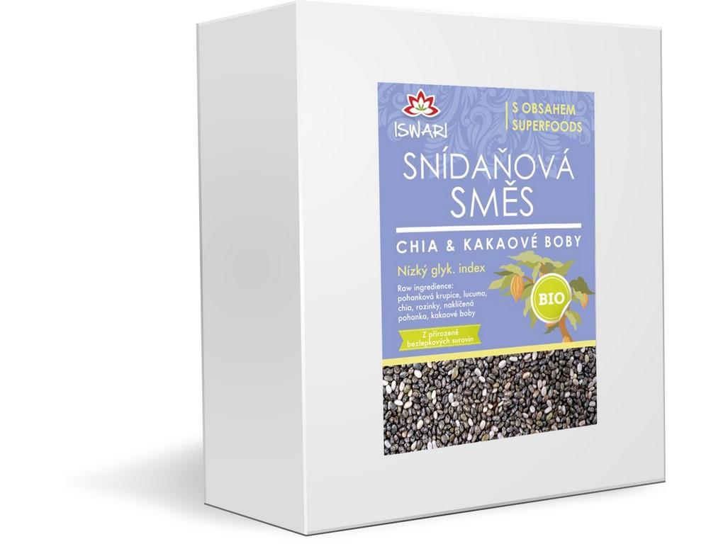 Iswari Bio snídaňová směs chia - kakaové boby 3,2kg