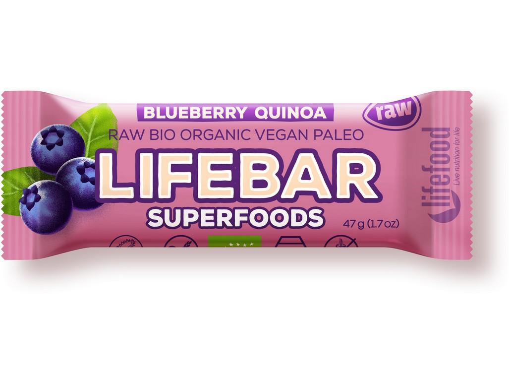 Lifefood Bio tyčinka Lifebar Plus borůvka quinoa 47g
