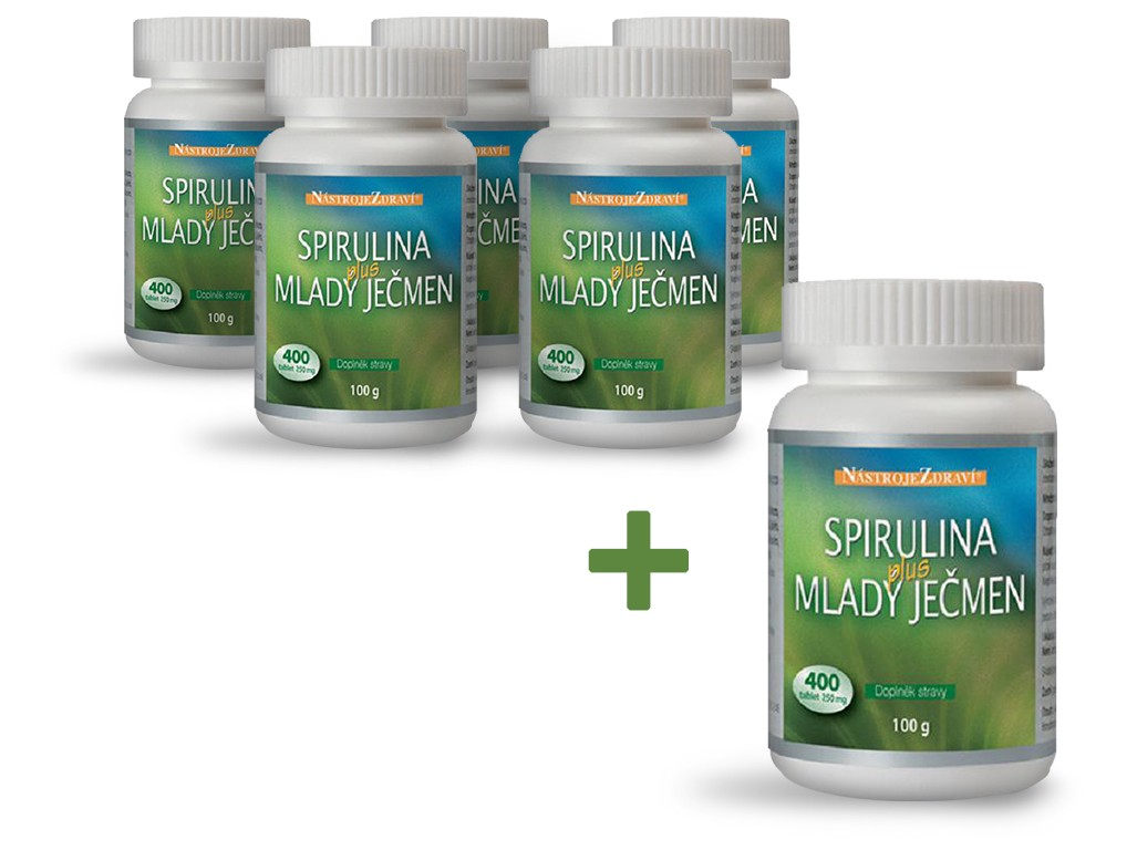 Nástroje zdraví Spirulina plus Mladý ječmen 100g AKCE 5+1