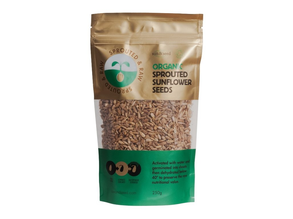 Sun and Seed Naklíčená slunečnicová semínka - Bio, raw 250g