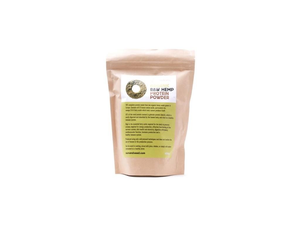 Sun and Seed Bio Raw proteinový prášek z konopného semínka 450g