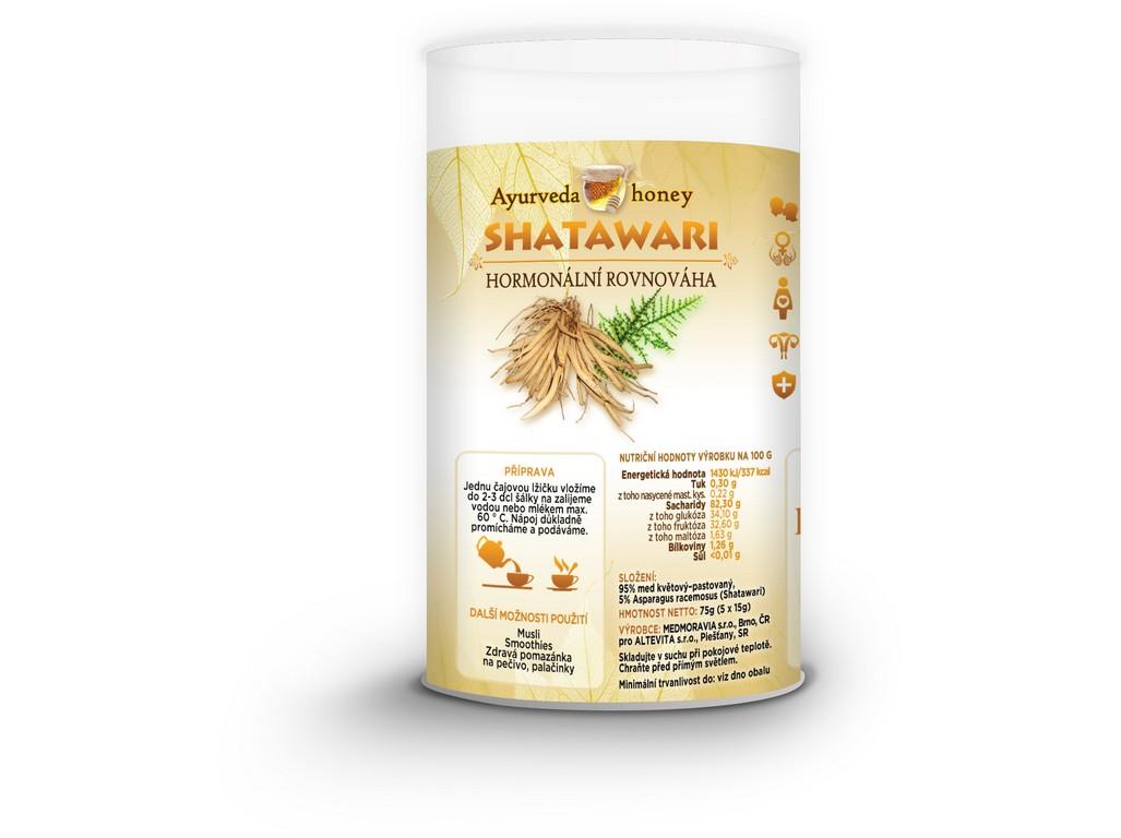 Honeyherbs Ajurvéda med Shatawari 5x15g Tubus - hormonální rovnováha