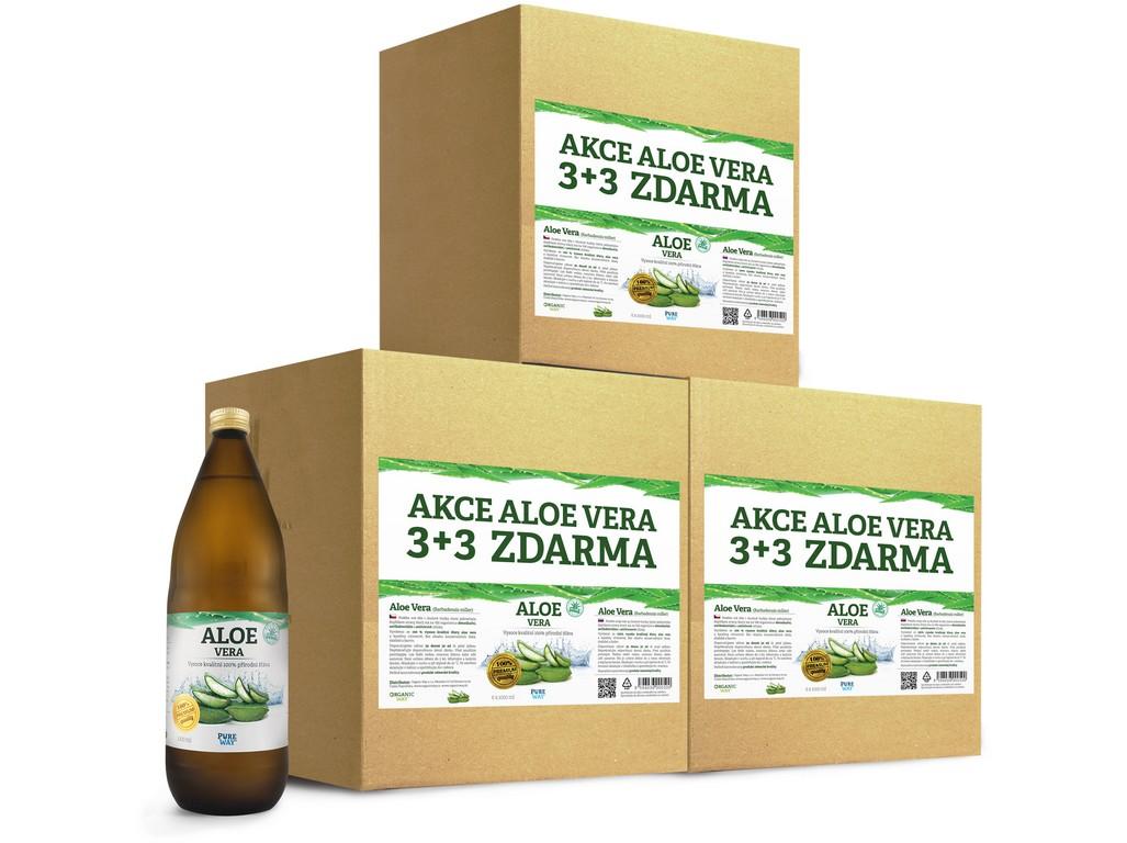 Pure Way Aloe vera 100% šťáva premium quality 3 kartony (18x1000ml) výhodná cena