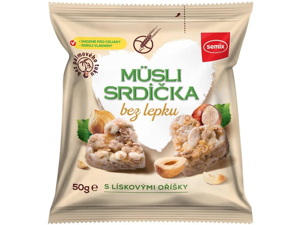 Semix Musli srdíčka bez lepku s lískovými oříšky 50g
