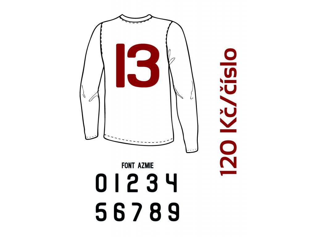 Potisk textilu - Číslo na dres 10 až 99 (AZMIE)
