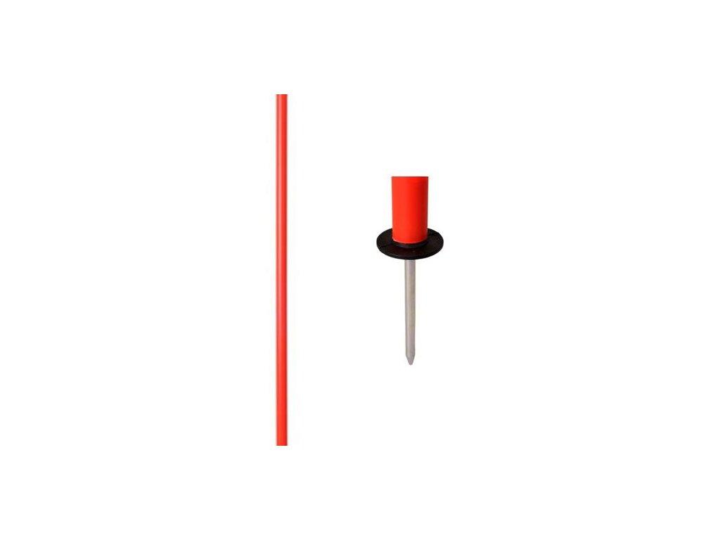 Slalomová tyč průměr 25 mm - s ocelovým bodcem FLUO
