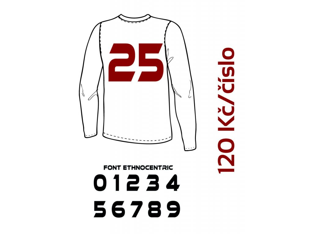 Potisk textilu - Číslo na dres 10 až 99 (ETHNOCENTRIC)