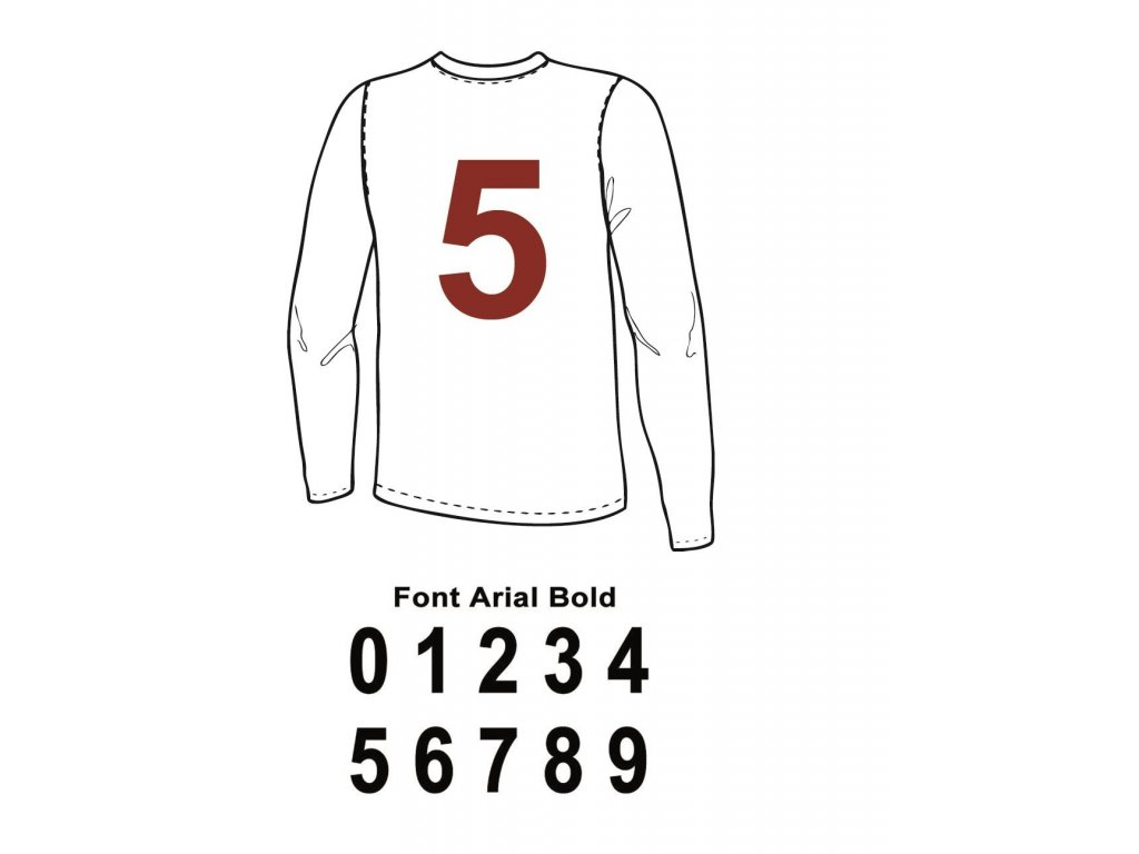 Potisk textilu - Číslo na dres 0 až 9 (ARIAL)