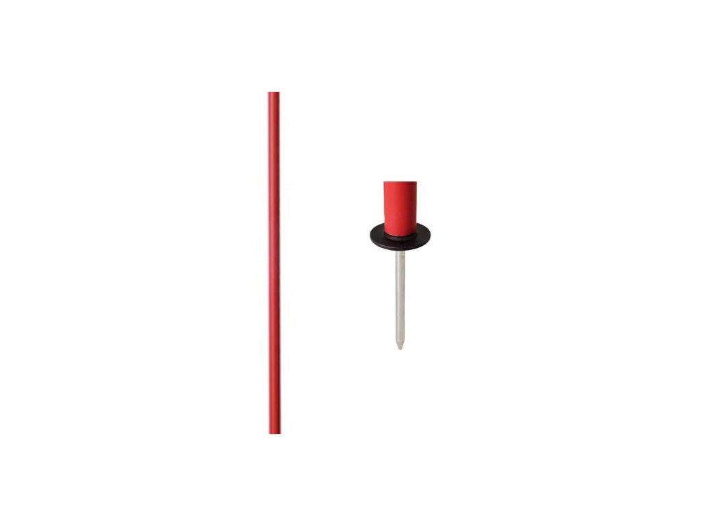 Slalomová tyč průměr 25 mm - s ocelovým bodcem (BARVA Červená)
