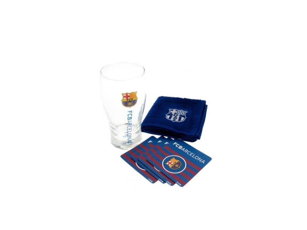 29004 1 bar set sklenice s tacky a rucnikem fc barcelona wordmark objem sklenice 470 ml rucnik 30 x 30 cm