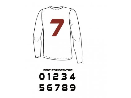 Potlač textilu - Číslo na dres 0 až 9 (ETHNOCENTRIC) (Číslo Číslo 0)