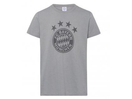 Pánske tričko Bayern Mníchov emblem šedej (Velikost L)