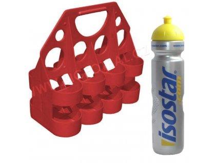 Akční set nosič + láhve (8 x 1000 ml) (BARVA Stříbrná-Červená)