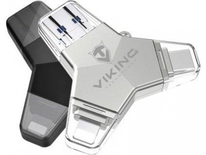 Viking USB Flash disk 3.0 4v1 s koncovkou Lightning/Micro USB/USB/USB-C, 64 GB, stříbrná