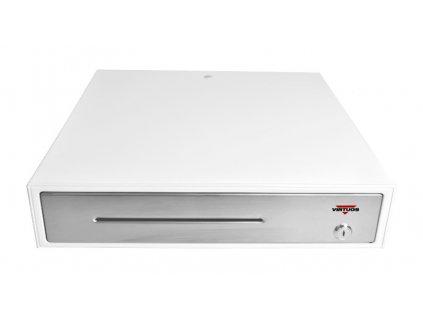 Pokladní zásuvka C430C - s kabelem, kovové držáky, nerez panel, 9-24V, bílá