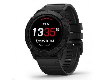 Garmin GPS sportovní hodinky fenix6X Glass, Black/Black Band (MAP/Music)