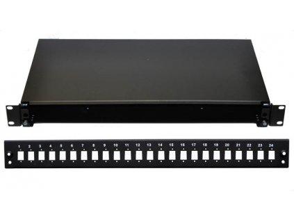 19'' Optická vana 24xSC simplex černá aretace plastovým klipem
