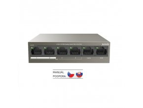 Tenda TEF1106P-4-63W PoE AT switch 4x PoE 802.3af/at, 6x 100Mb/s, PoE celkem 63W, fanless