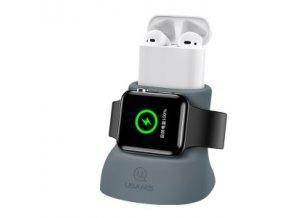 USAMS ZJ051 Nabbíjecí Stojánek pro Apple Watch/Airpods Grey