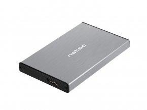 Externí box pro HDD 2,5'' USB 3.0 Natec Rhino Go, šedý, hliníkové tělo
