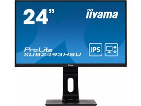 24'' iiyama XUB2493HSU-B1: IPS, FullHD@75Hz, 250cd/m2, 4ms, VGA, HDMI, DP, USB, height, pivot, černý