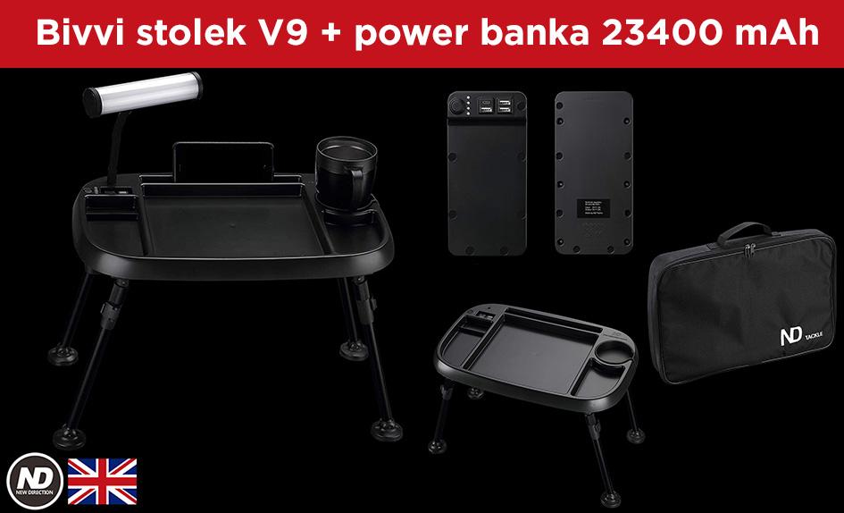 Multifunkční bivvi stolek V9 + Power banka 23400 mAh