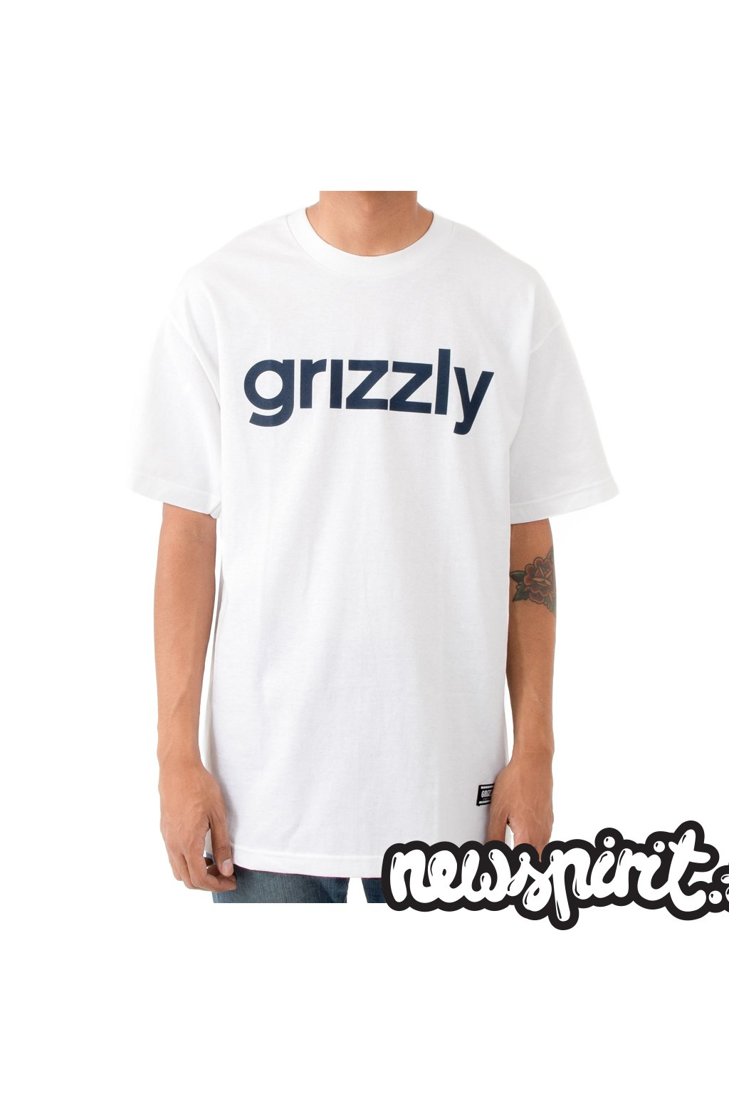 Tričko Grizzly Lowercase White/Navy