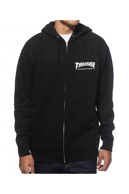 Mikina Thrasher Magazine logo zip hood black