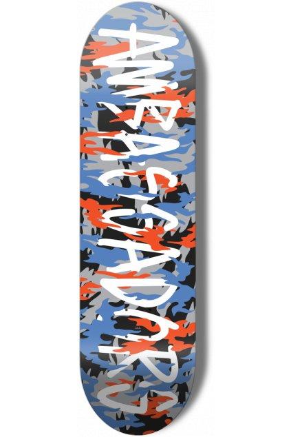 ambassadors skateboard camo Blue Orange 1200x1200.