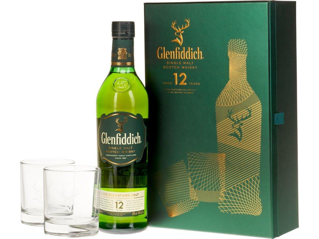 Glenfiddich 12 Y.O. s 2 pohármi